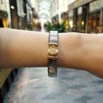 Bvlgari diamond Tubogas bangle in steel and 18k pink gold.