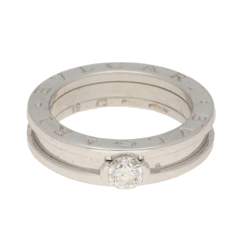 Bvlgari B.zero1 diamond solitaire ring in 18k white gold.