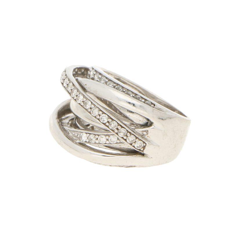 7 Row Crossover Diamond Bombe Ring