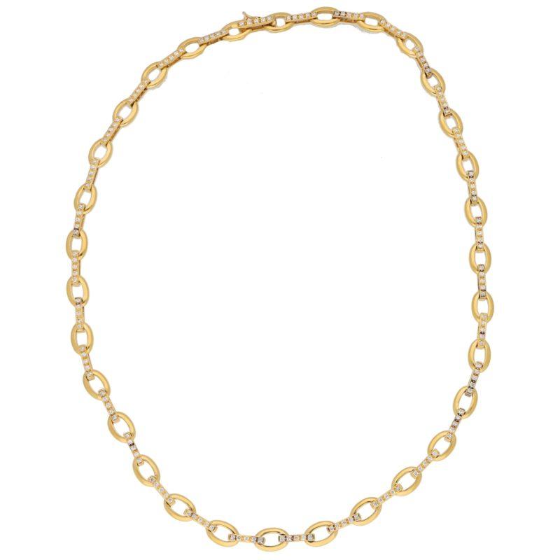 Morabito diamond necklace in 18k yellow gold.