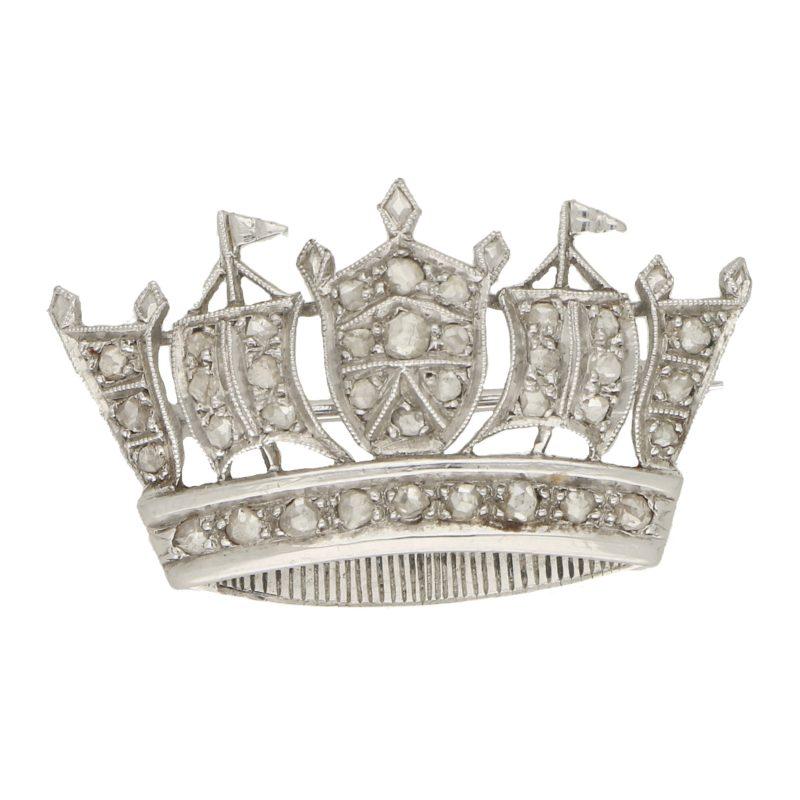 Diamond Naval crown pin