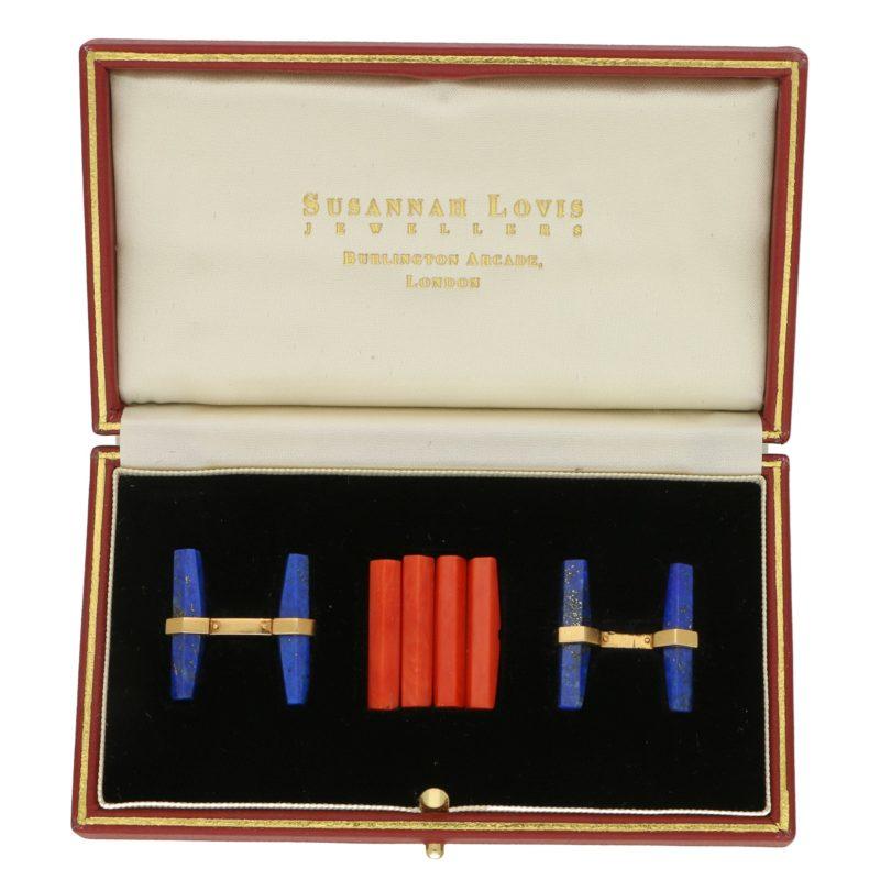 Vintage Cartier Lapis and Coral Interchangeable Baton Set