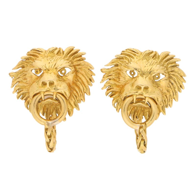 Boucheron 18ct Yellow Gold Lion Door Knocker Cufflinks