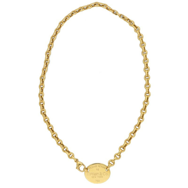 'Please Return to Tiffany' Yellow Gold Necklace