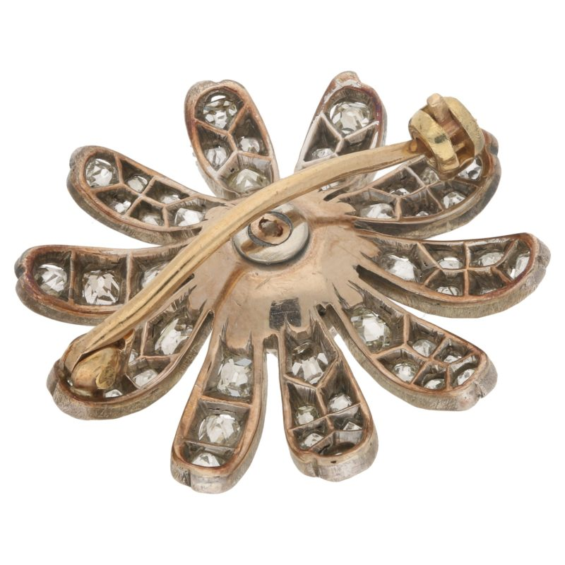Victorian floral diamond brooch in silver and yellow gold.