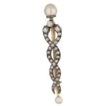 Victorian pearl and diamond serpent pin in silver and rose gold
