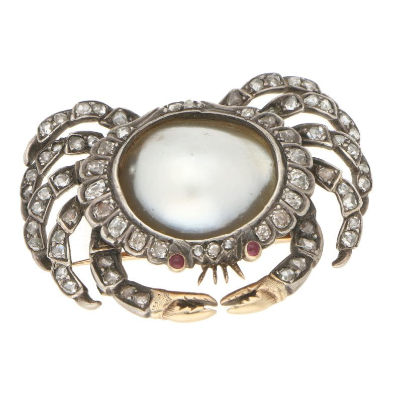 Victorian Mabé Pearl, Diamond and Ruby Crab Brooch