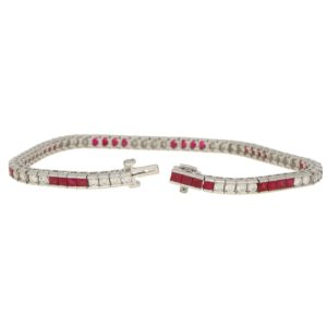 Diamond and Ruby Line Bracelet Set in Platinum