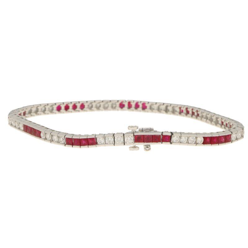 Diamond and Ruby Line Bracelet Set in Platinum