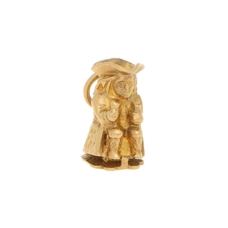 Vintage Toby Jug Charm in Yellow Gold