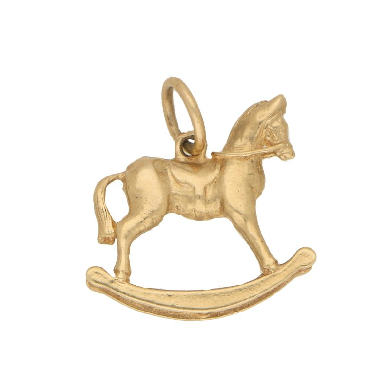 Vintage Rocking Horse Charm in Yellow Gold