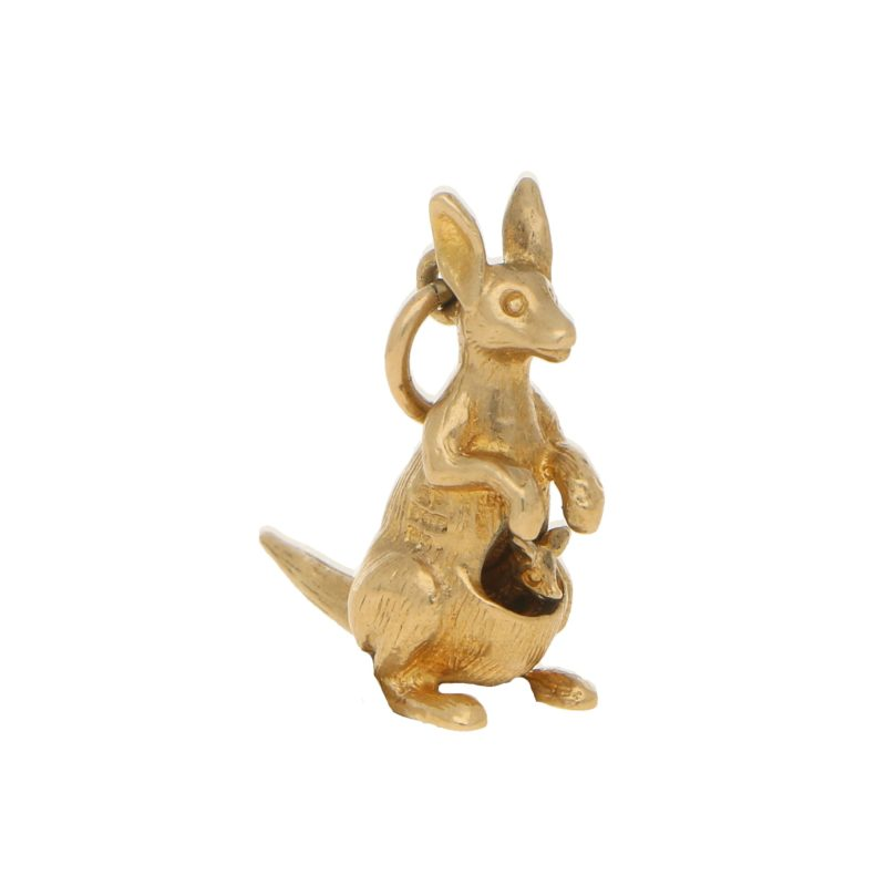 Vintage Kangeroo and Joey Charm in Yellow Gold