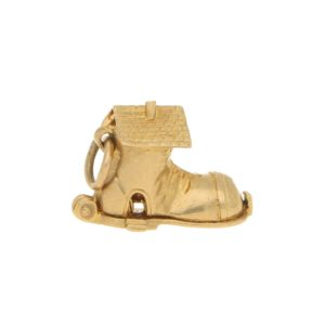 Vintage Shoe House Charm in Yellow Gold