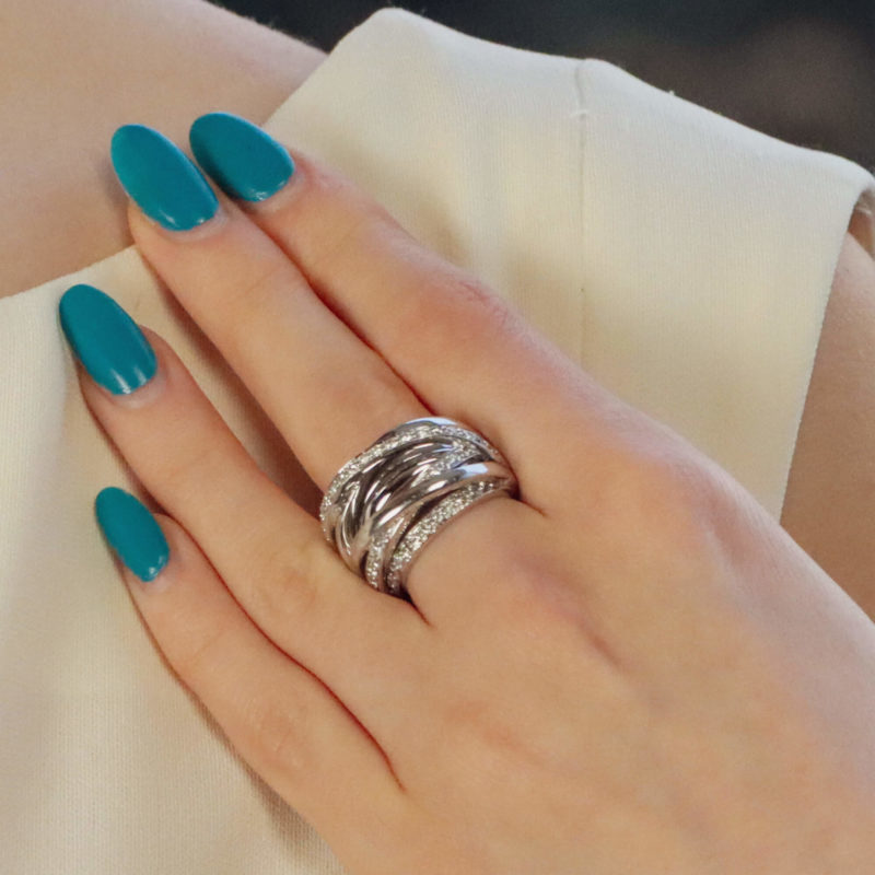 Vintage diamond multi band ring