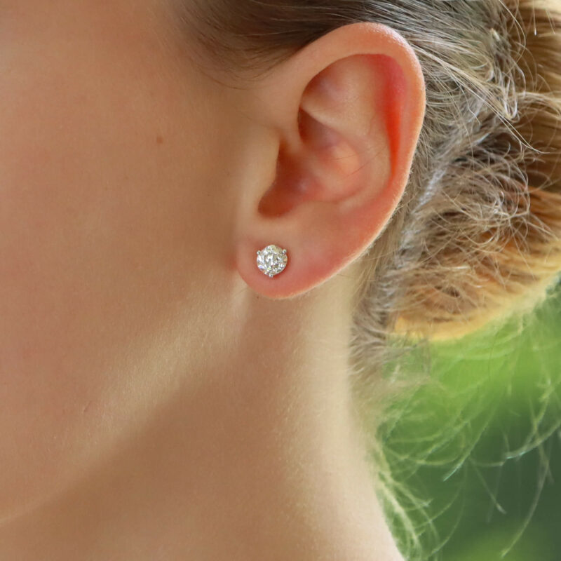 Art Deco Style Emerald and diamond earstuds