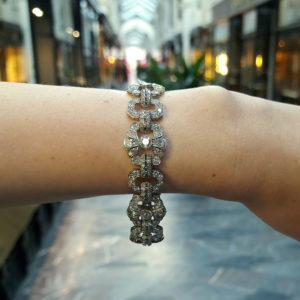 Art Deco 15ct Diamond Panel Bracelet in Platinum