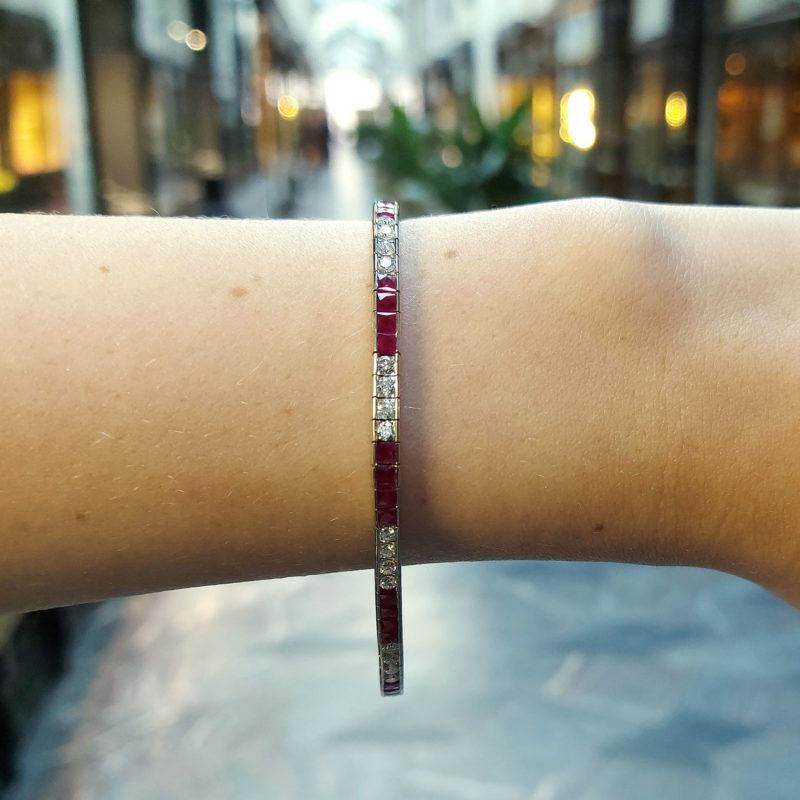 Art Deco Style Diamond and Ruby Tennis Bracelet