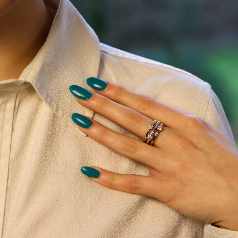 Diamond Triple ring in Tri-coloured Gold