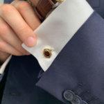 Vintage Cartier almandine garnet cufflinks in 18K yellow gold.
