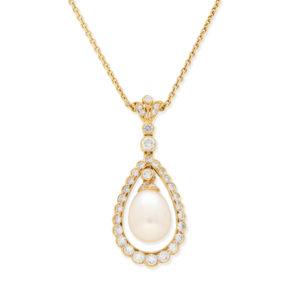 Pearl & Diamond Pear Drop Pendant