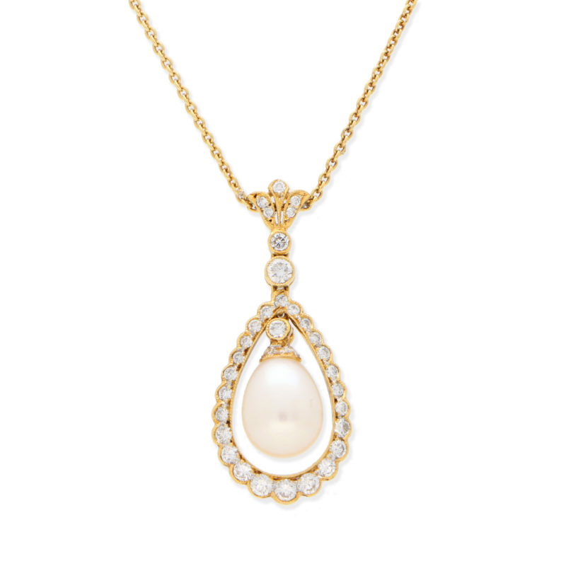 Pearl & Diamond Pear Drop Pendant