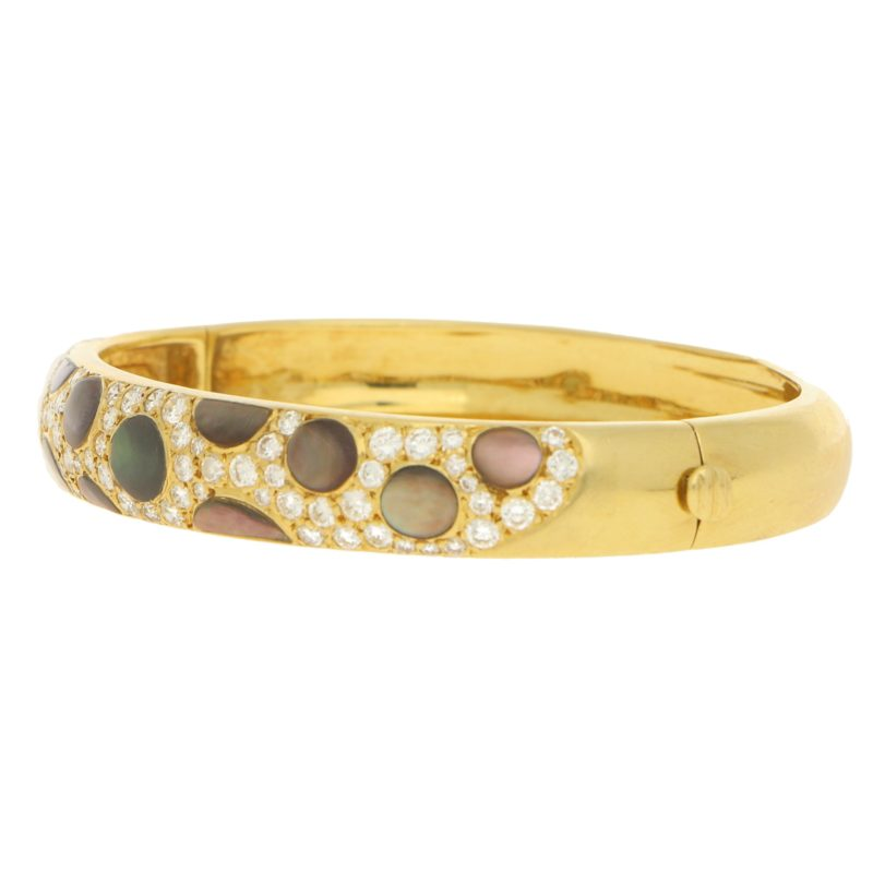 Leopard Print Mother-of-Pearl and Diamond Bangle