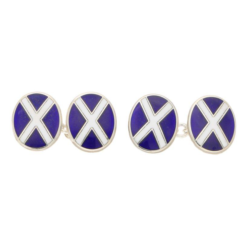 Men's Scottish flags enamel  link cufflinks in sterling silver