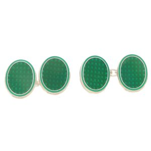 Men's green enamel link cufflinks in sterling silver