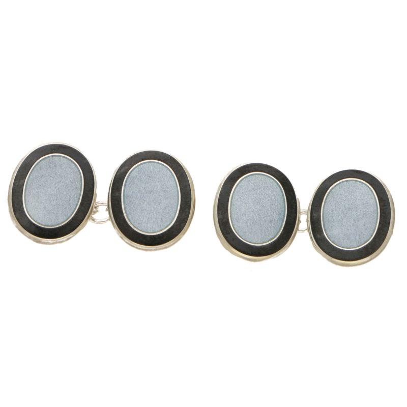 Men's grey and black enamel link cufflinks in sterling silver
