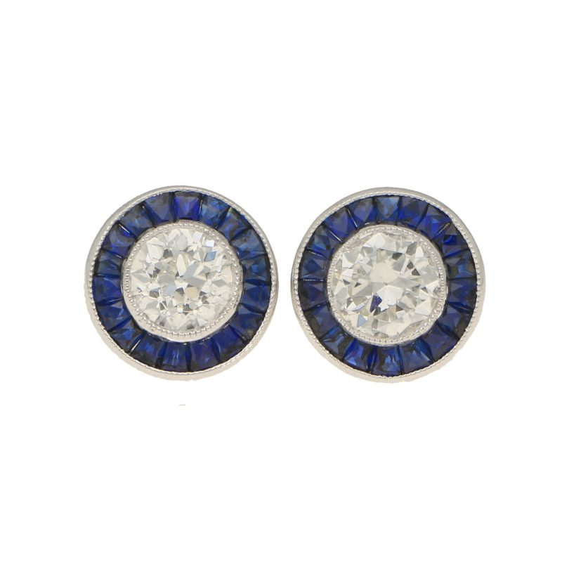 Art Deco Style Diamond and Sapphire Stud Earrings