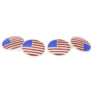American Flag Chain Cufflinks in Sterling Silver