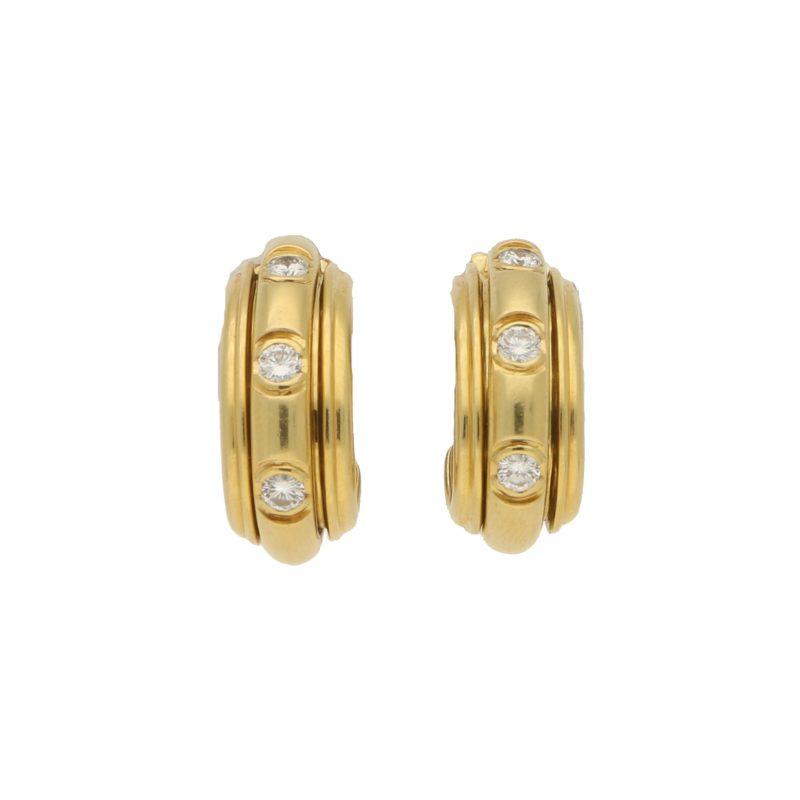 Piaget Possession diamond hoop earrings in 18k yellow gold.