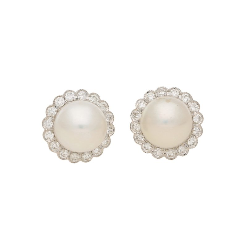 Pearl & Diamond Cluster Stud Earrings