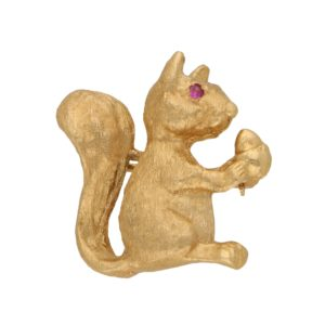 Ruby Eyed Squirrel Brooch Set in 14k Rose Gold