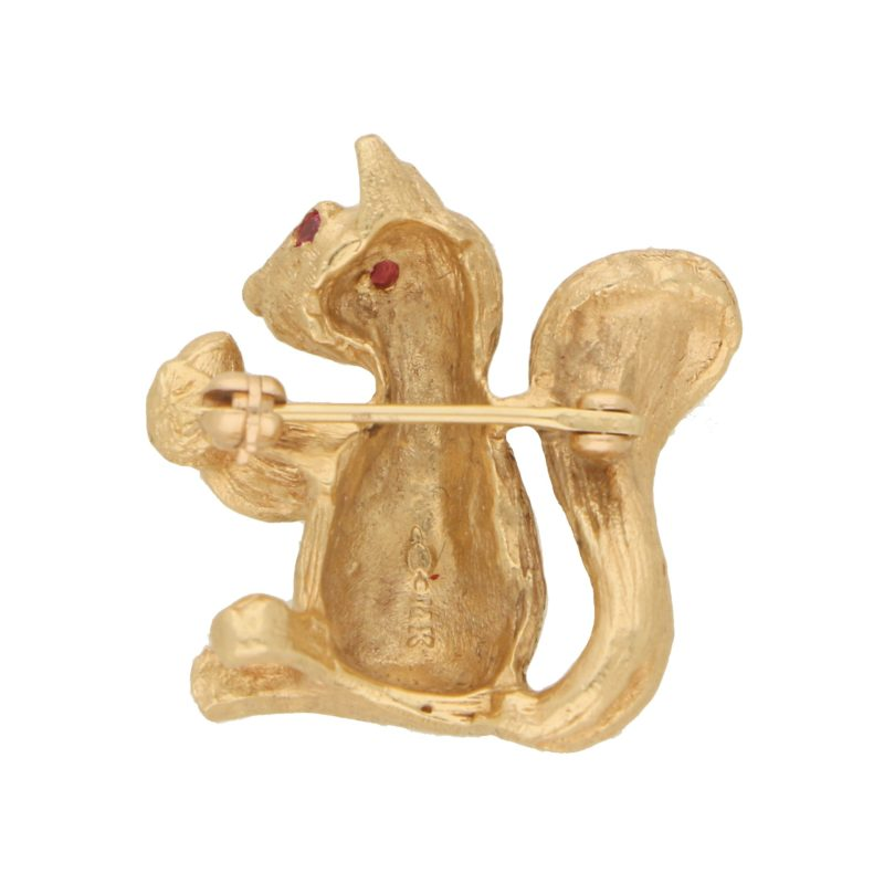 Ruby Eyed Squirrel Brooch Set in 14k Rose Gold