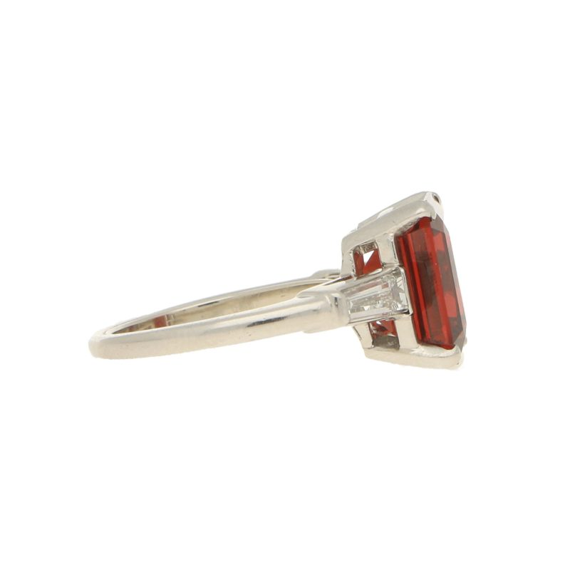 Almandine garnet and diamond ring