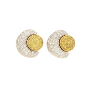 Yellow Diamond Sun and Moon Earrings in 18k gold.