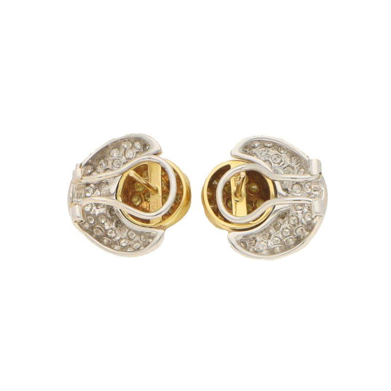 Yellow Diamond Sun and Moon Earrings in 18k gold.