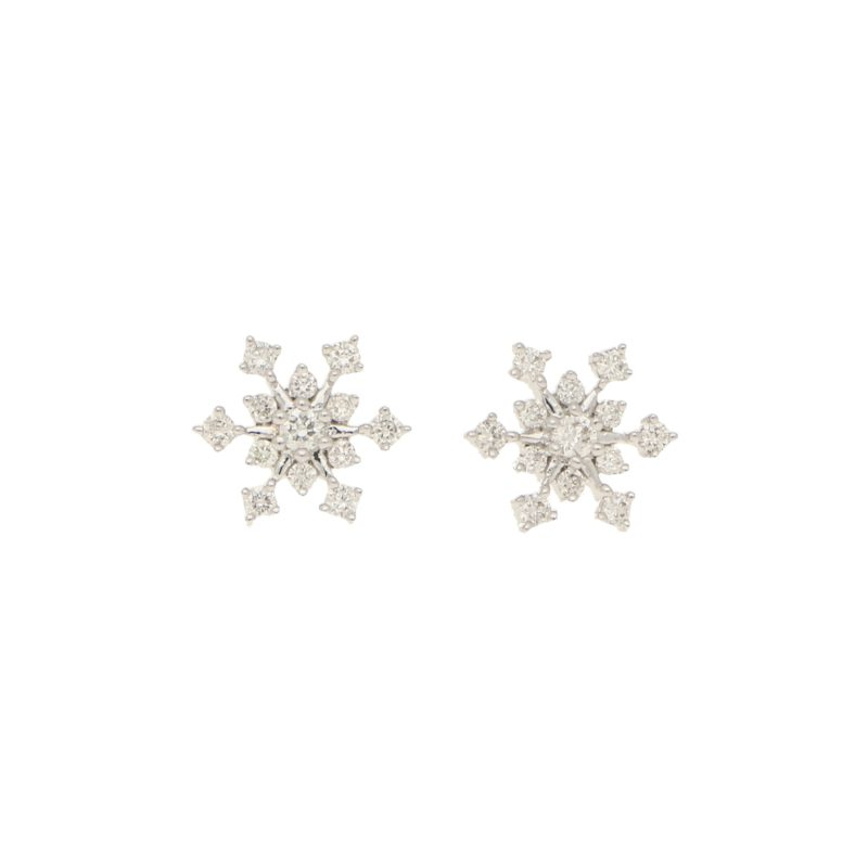 Diamond snowflake earrings in 18K white gold.