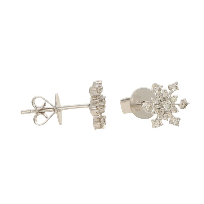 Diamond snowflake earrings in 18K white gold.