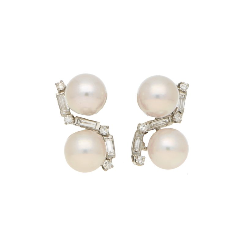 Cross over design cultured pearl and diamond earrings