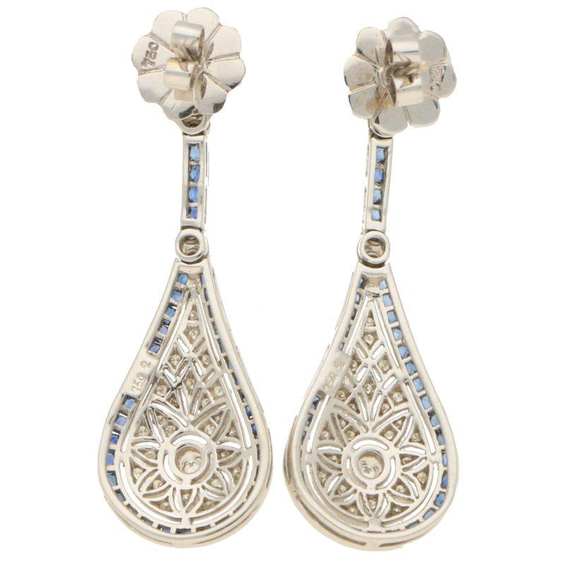 Sapphire & Diamond Art Deco Style Drop Earrings