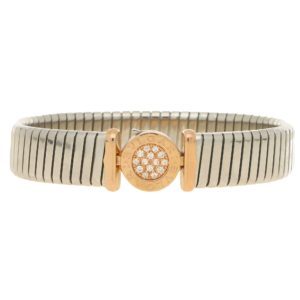 Bvlgari diamond Tubogas bangle in steel and 18k pink gold.