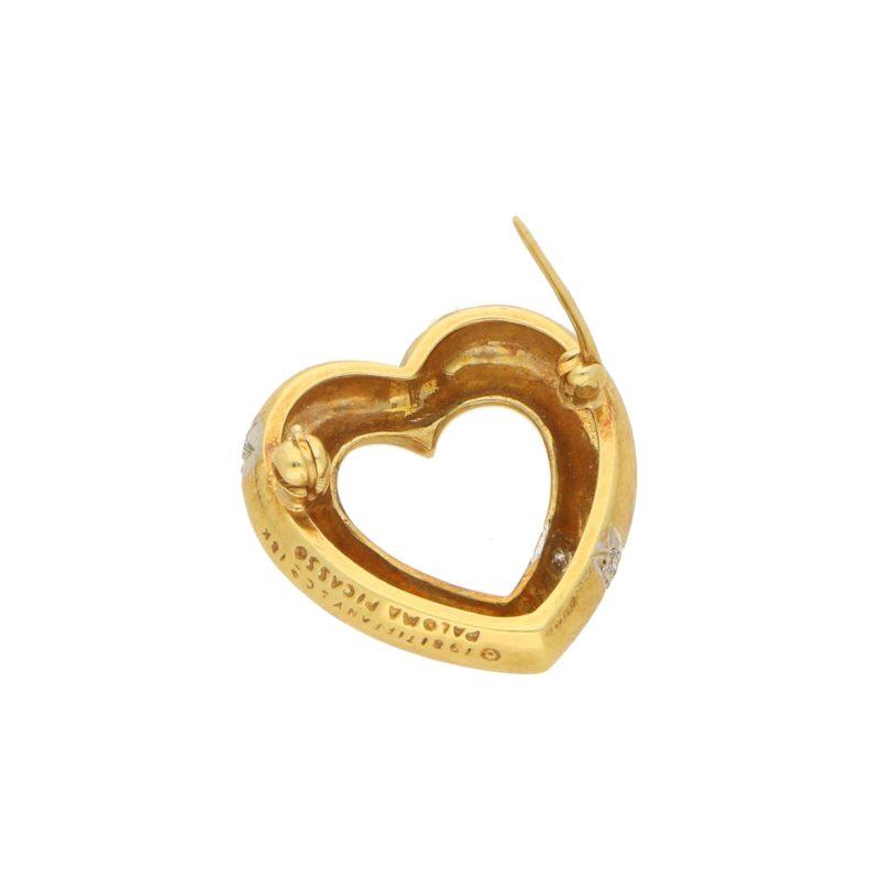 18ct Yellow Gold Diamond Heart Brooch