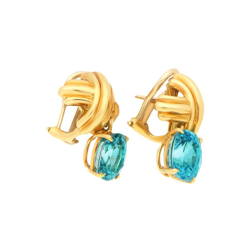 Tiffany & Co. Blue Zircon Crosses in Yellow Gold