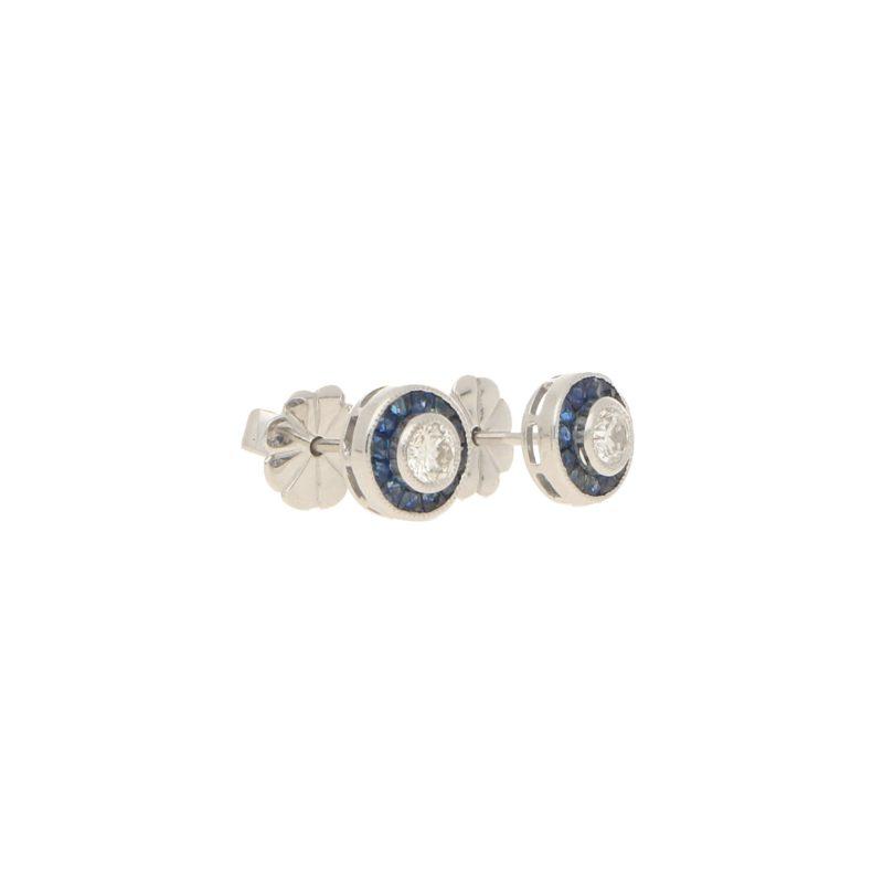 Sapphire & Diamond Cluster Stud Target Earrings