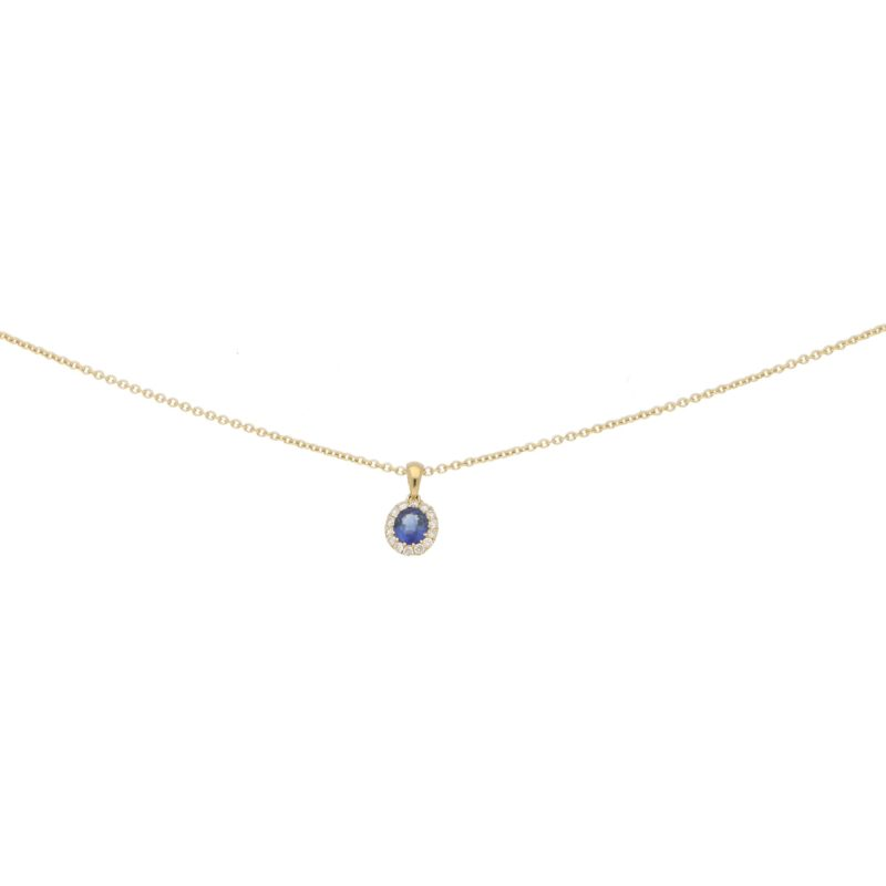 Sapphire and diamond cluster pendant in 18K yellow gold.