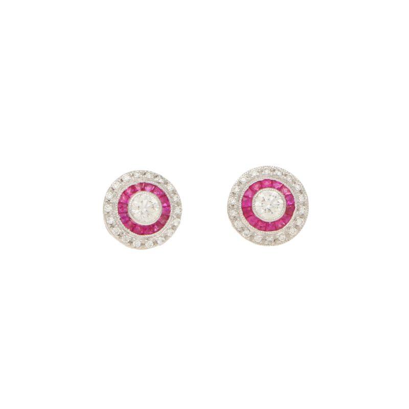 Diamond & Ruby Target Stud Earrings