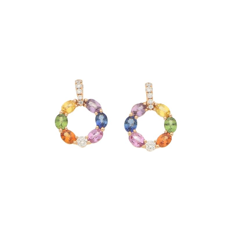 Fancy coloured sapphire and diamond earrings in 18k rose gold.