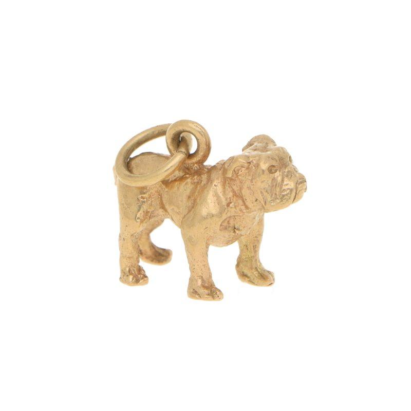Vintage British Bulldog Charm in Yellow Gold